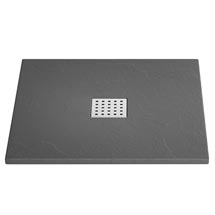 Imperia Graphite Slate Effect Square Shower Tray 800 x 800mm Inc. Waste Medium Image