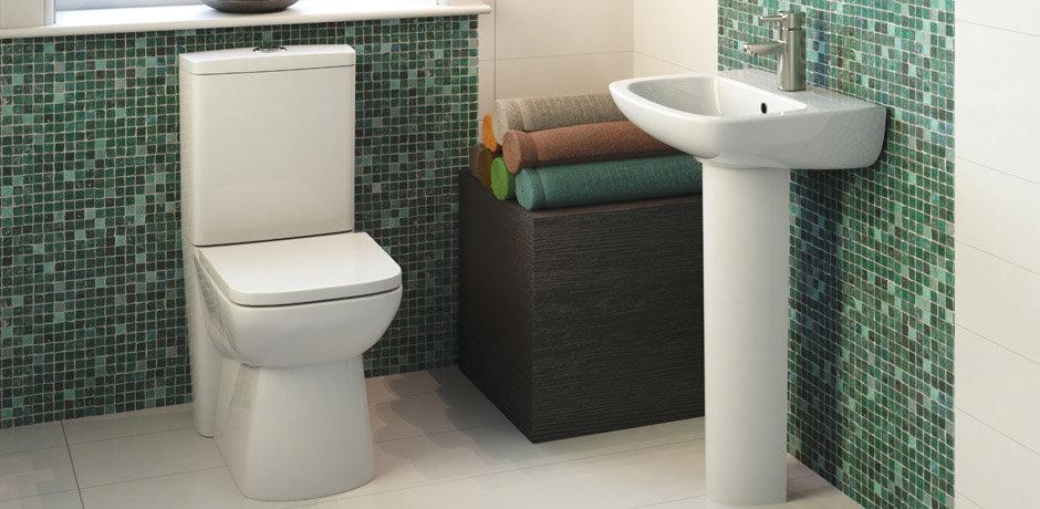 Green mosaic bathroom tiles