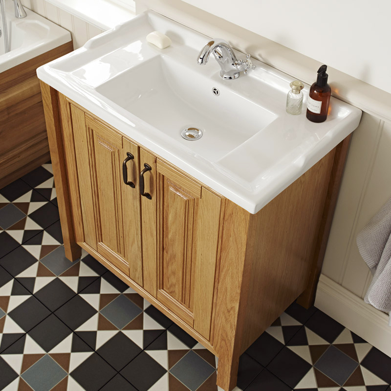 Grenville American Oak Solid Wood Vanity Unit Available