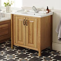 Grenville Traditional Oak Vanity Unit with Basin - American Oak Medium Image