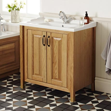 Grenville Traditional Oak Vanity Unit with Basin - American Oak