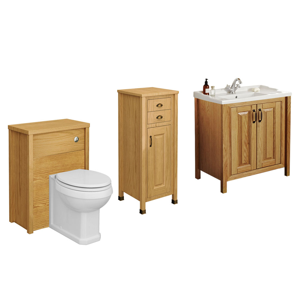 Grenville Traditional Suite with Tallboy Bathroom Cabinet Unit American Oak  profile large image view 1. Bathroom Tallboy