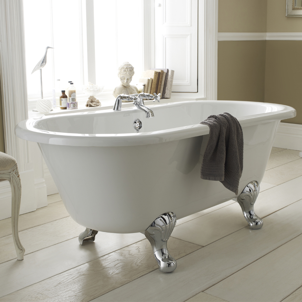 Premier Grosvenor 1700 Double Ended Roll Top Bath Inc. Chrome Legs Large Image
