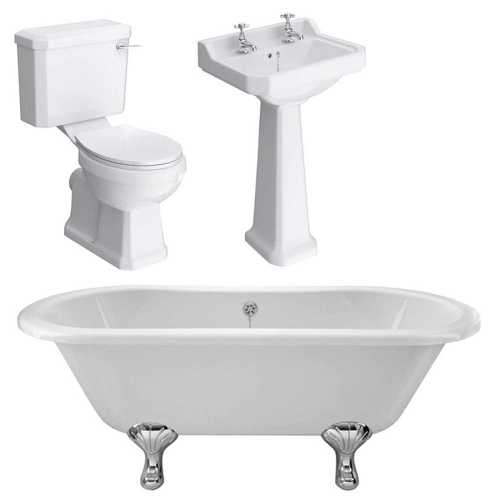 Grosvenor Traditional Double Ended Roll Top Bath Suite (1700mm) Large Image