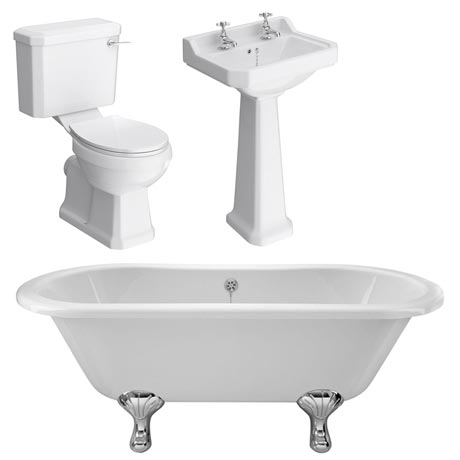 Grosvenor Traditional Double Ended Roll Top Bath Suite (1700mm)