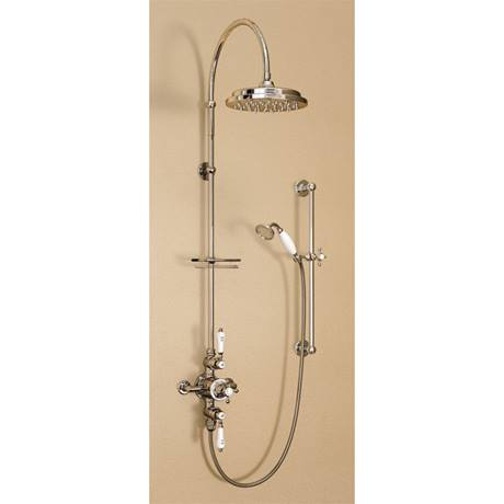 "Burlington Avon Birkenhead Exposed Thermostatic Valve w Riser, Curved Arm, 9"" Rose, Slider Rail Kit"