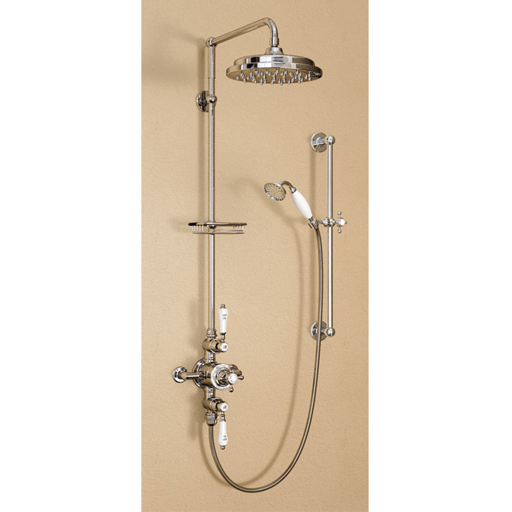 "Burlington Avon Anglesey Exposed Thermostatic Valve w Riser, Straight Arm, 9"" Rose & Slider Rail profile large image view 1"