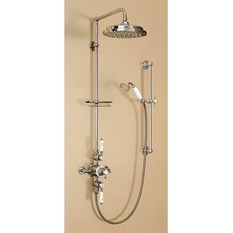 "Burlington Avon Anglesey Exposed Thermostatic Valve w Riser, Straight Arm, 9"" Rose & Slider Rail"