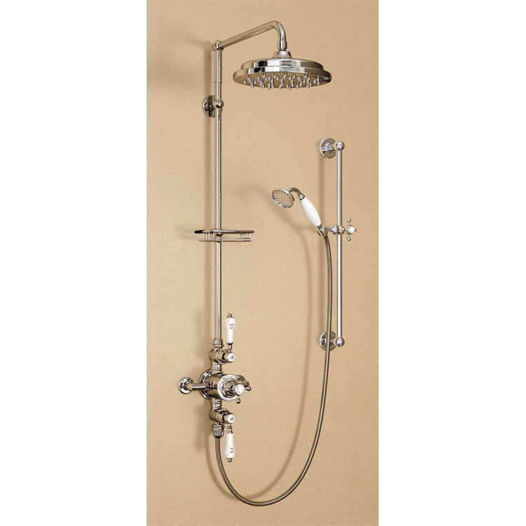 "Burlington Avon Birkenhead Exposed Thermostatic Valve w Riser, Straight Arm, 9"" Rose & Slider Rail profile large image view 1"