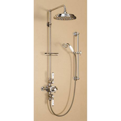 "Burlington Avon Birkenhead Exposed Thermostatic Valve w Riser, Straight Arm, 9"" Rose & Slider Rail"