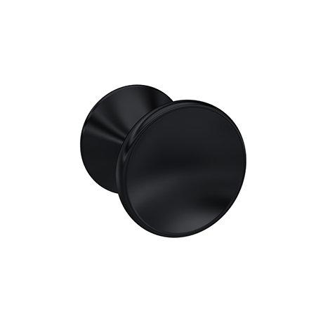 Hudson Reed Matt Black Indented Round Knob Furniture Handle - 30mm Diameter - H213