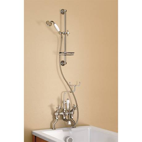 Burlington Claremont Angled Bath Shower Mixer with Slide Rail & Soap Basket - H230-CL