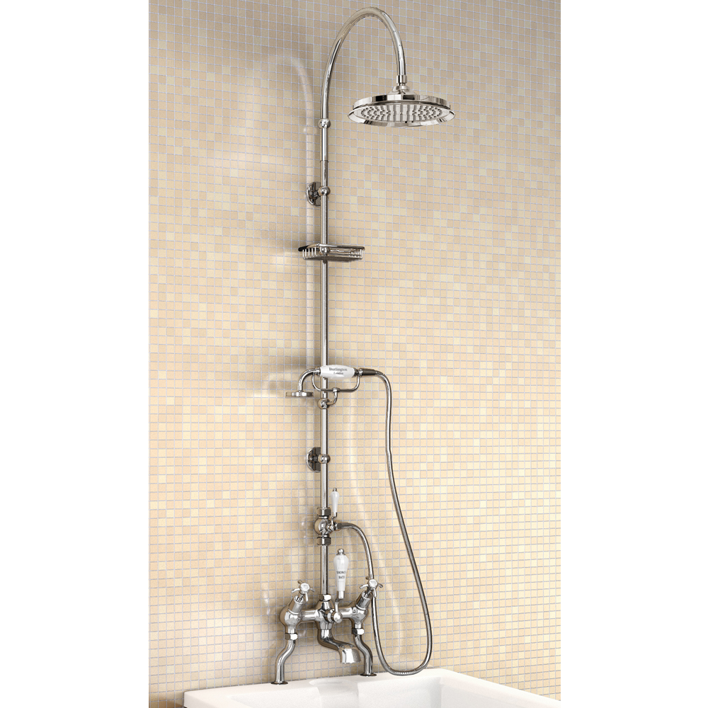 "Burlington Anglesey Angled Bath Shower Mixer w Riser, Curved Arm, 9"" Rose & Handset Large Image"