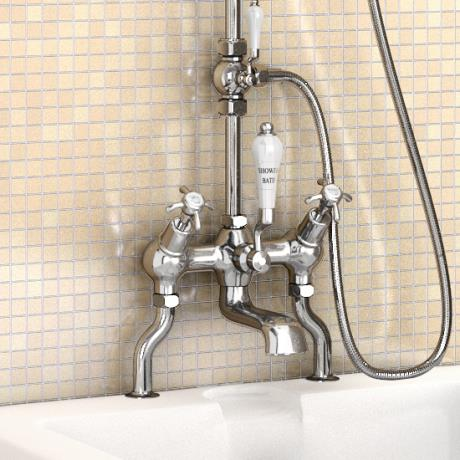 Burlington anglesey angled bath shower mixer w riser for Chatsworth bathroom faucet parts
