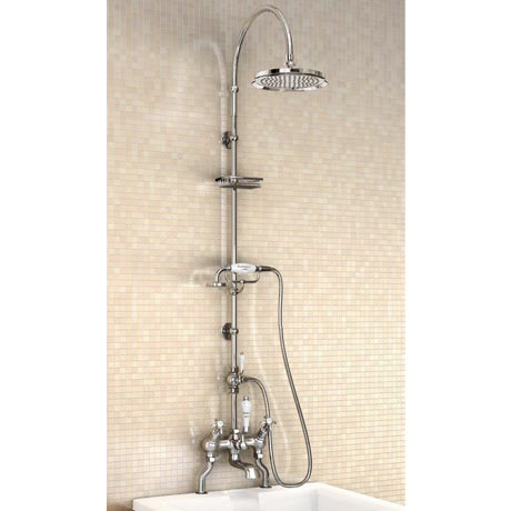 "Burlington Anglesey Angled Bath Shower Mixer w Riser, Curved Arm, 9"" Rose & Handset"