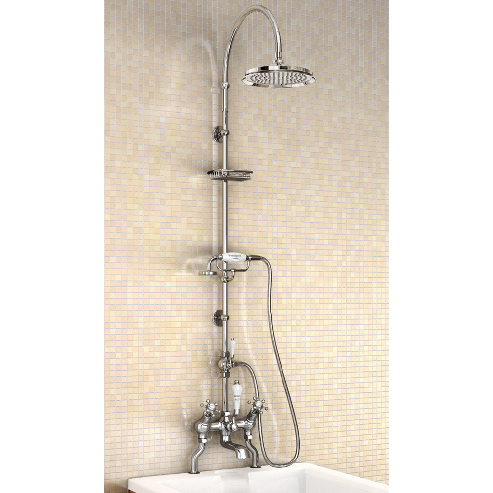 "Burlington Birkenhead Angled Bath Shower Mixer w Riser, Curved Arm, 9"" Rose & Handset Large Image"