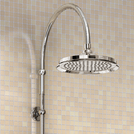 "Burlington Birkenhead Angled Bath Shower Mixer w Riser, Curved Arm, 9"" Rose & Handset Feature Large Image"