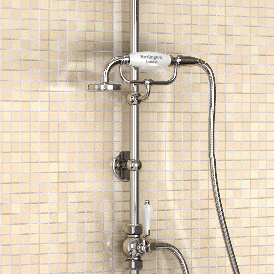 "Burlington Birkenhead Angled Bath Shower Mixer w Riser, Curved Arm, 9"" Rose & Handset Standard Large Image"