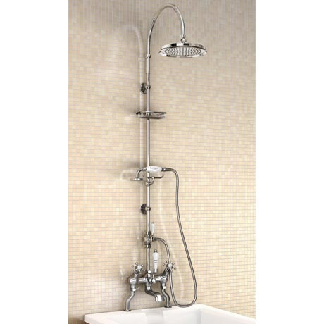 "Burlington Birkenhead Angled Bath Shower Mixer w Riser, Curved Arm, 9"" Rose & Handset"