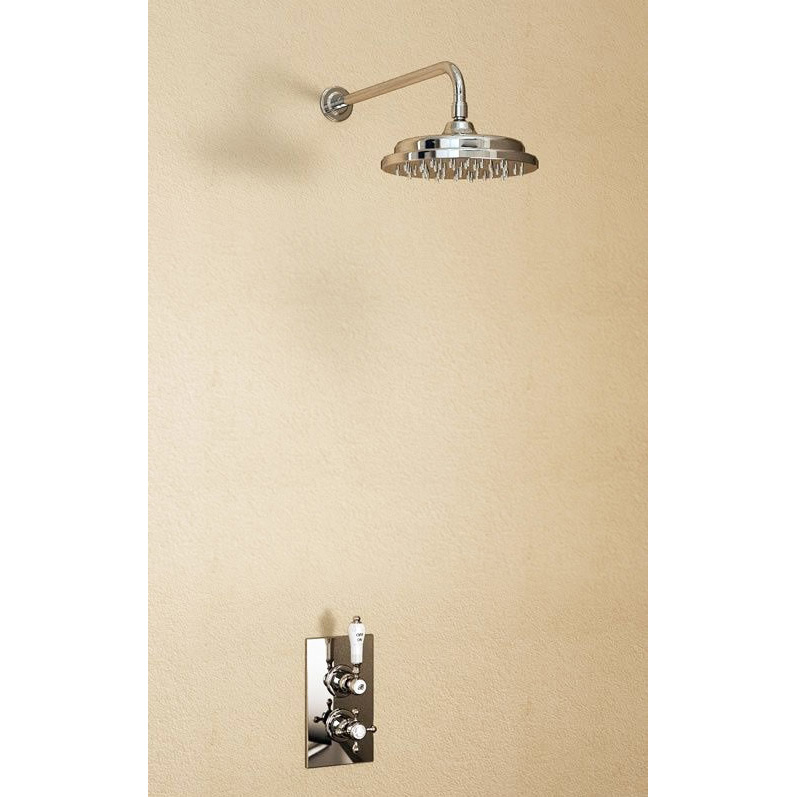 """Burlington Trent Anglesey Concealed Valve w Straight Arm & 9"""" Rose - Brass Backplate Large Image"""