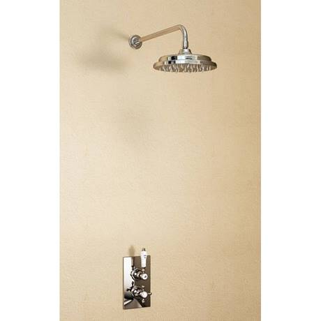"Burlington Trent Claremont Concealed Valve w Straight Arm & 9"" Rose - Brass Backplate"