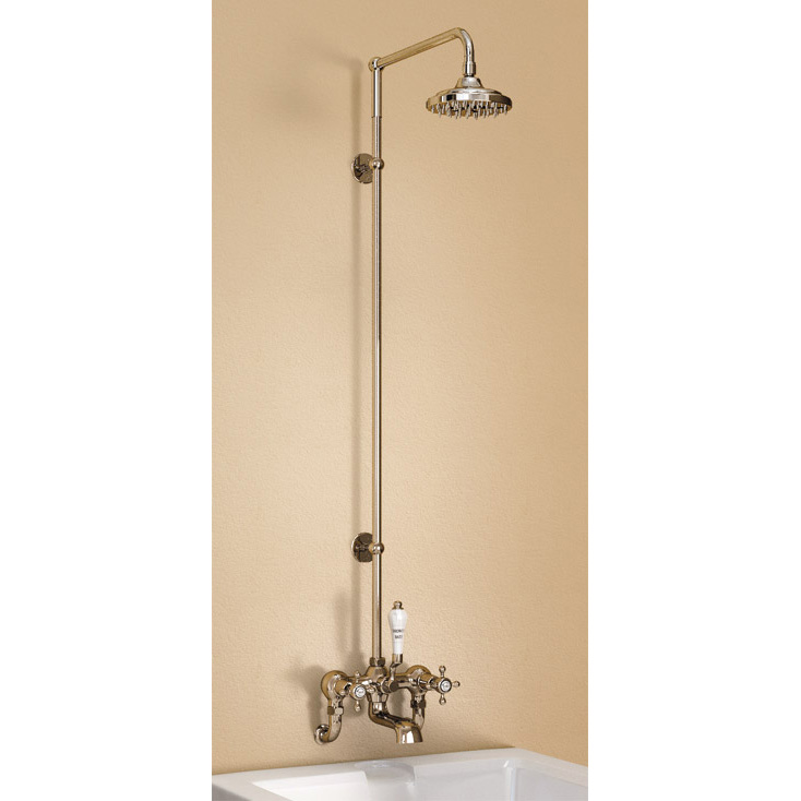"Burlington Claremont Wall Mounted Bath Shower Mixer w Rigid Riser, Straight Arm & 6"" Rose Large Imag"