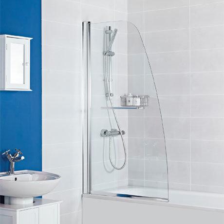 Roman Haven Angled Bath Screen with Towel Rail - H2D1CS