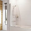 Roman Haven Angled Bath Screen with Towel Rail - H2D1CS profile small image view 1