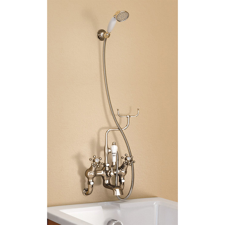 Burlington Anglesey Angled Wall Mounted Bath Shower Mixer with Shower Hook - H335-AN profile large image view 1