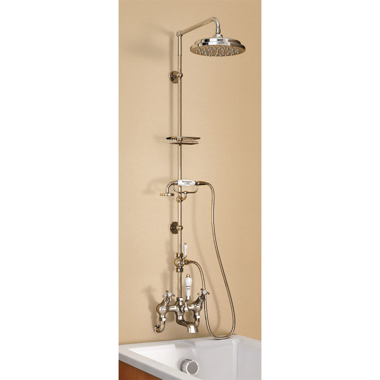 "Burlington Claremont Wall Mounted Angled Bath Shower Mixer w Riser, 9"" Rose & Soap Basket profile large image view 1"