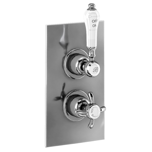 Burlington Trent Concealed Thermostatic Valve Single Outlet - Anglesey - Brass plate profile large image view 1