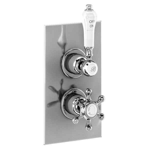 Burlington Trent Concealed Thermostatic Valve Single Outlet - Birkenhead - Brass plate Large Image