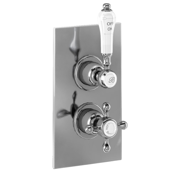 Burlington Trent Concealed Thermostatic Valve Single Outlet - Claremont - Brass plate profile large image view 1