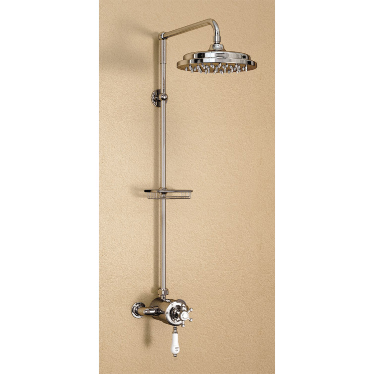 "Burlington Wye Anglesey Exposed Valve w Rigid Riser, Straight Arm, 9"" Shower Rose & Soap Basket profile large image view 1"