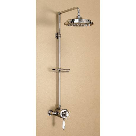 "Burlington Wye Anglesey Exposed Valve w Rigid Riser, Straight Arm, 9"" Shower Rose & Soap Basket"