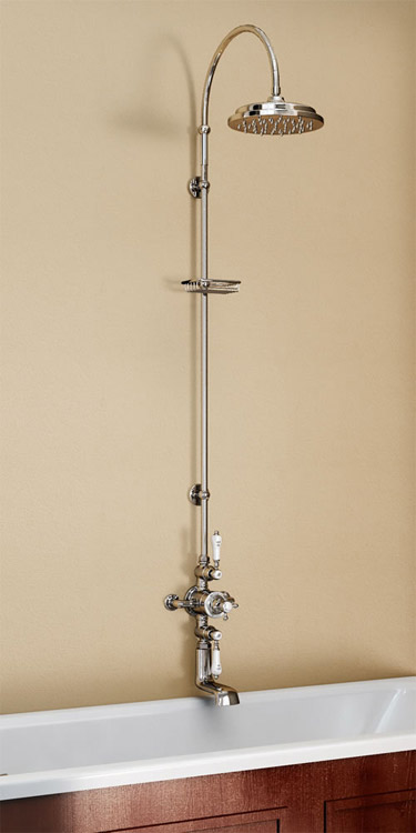 Burlington Avon Thermostatic Valve with Bath Spout & Riser Shower Kit - Anglesey Tap - H96-AN Large Image