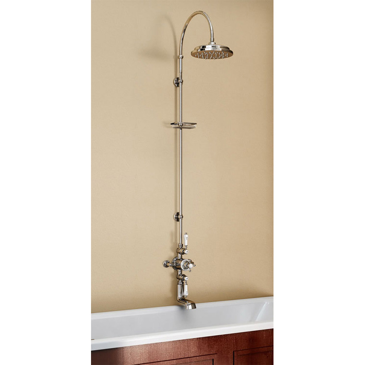 Burlington Avon Thermostatic Valve with Bath Spout & Riser Shower Kit - Anglesey Tap - H96-AN Large