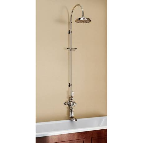 Burlington Avon Thermostatic Valve with Bath Spout & Riser Shower Kit - Anglesey Tap - H96-AN