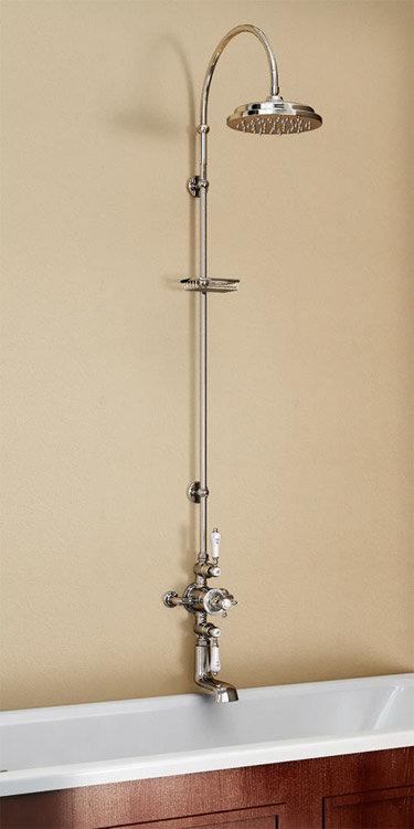 Burlington Avon Thermostatic Valve with Bath Spout & Riser Shower Kit - Birkenhead Tap - H96-BI Large Image