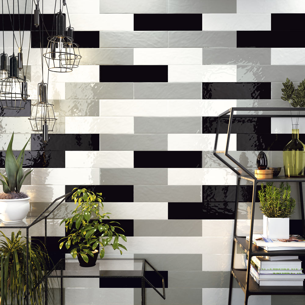 Hamilton Relief Bumpy White Gloss Wall Tiles 100 x 400mm  Profile Large Image