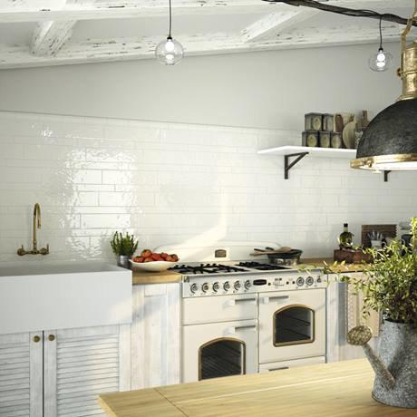 Hamilton Relief Bumpy White Gloss Wall Tiles 100 X 400mm