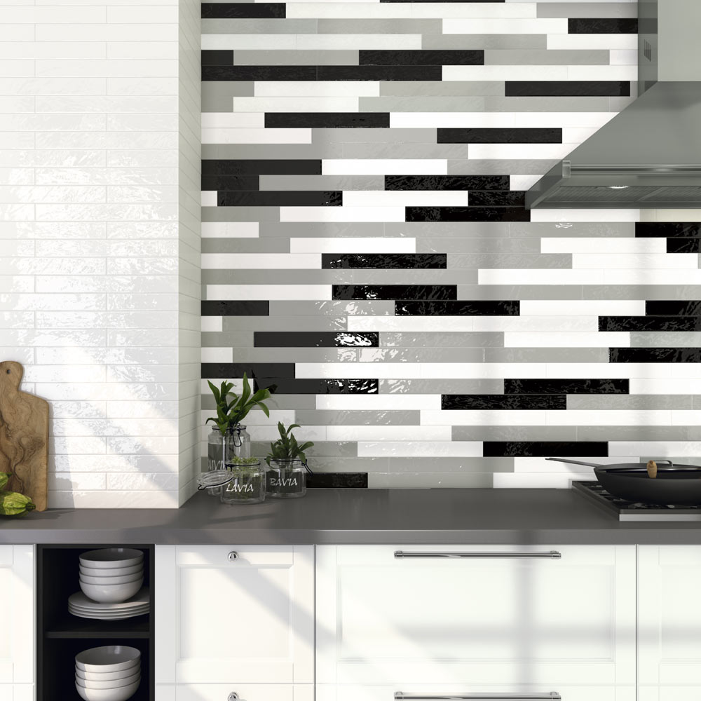 Hamilton Relief Bumpy White Gloss Wall Tiles 50 x 400mm  Feature Large Image