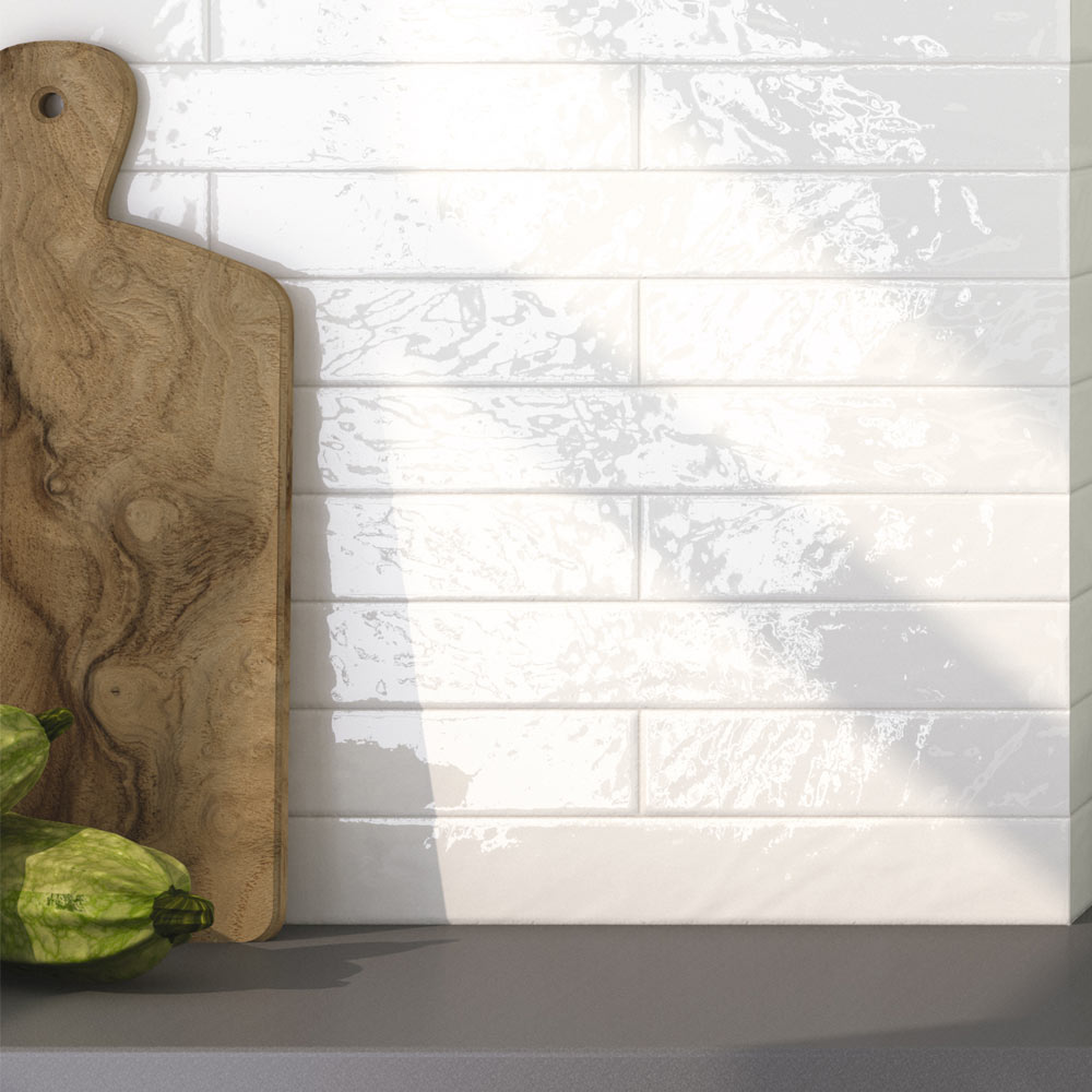 Hamilton Relief Bumpy White Gloss Wall Tiles 50 x 400mm Large Image