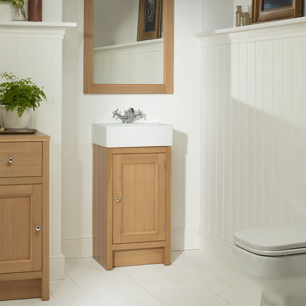 Roper Rhodes Hampton Cloakroom Unit & Basin - Natural Oak Profile Large Image