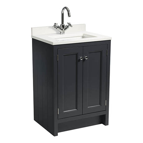 Roper Rhodes Hampton 600mm Underslung Basin Unit with Worktop & Basin - Slate Grey