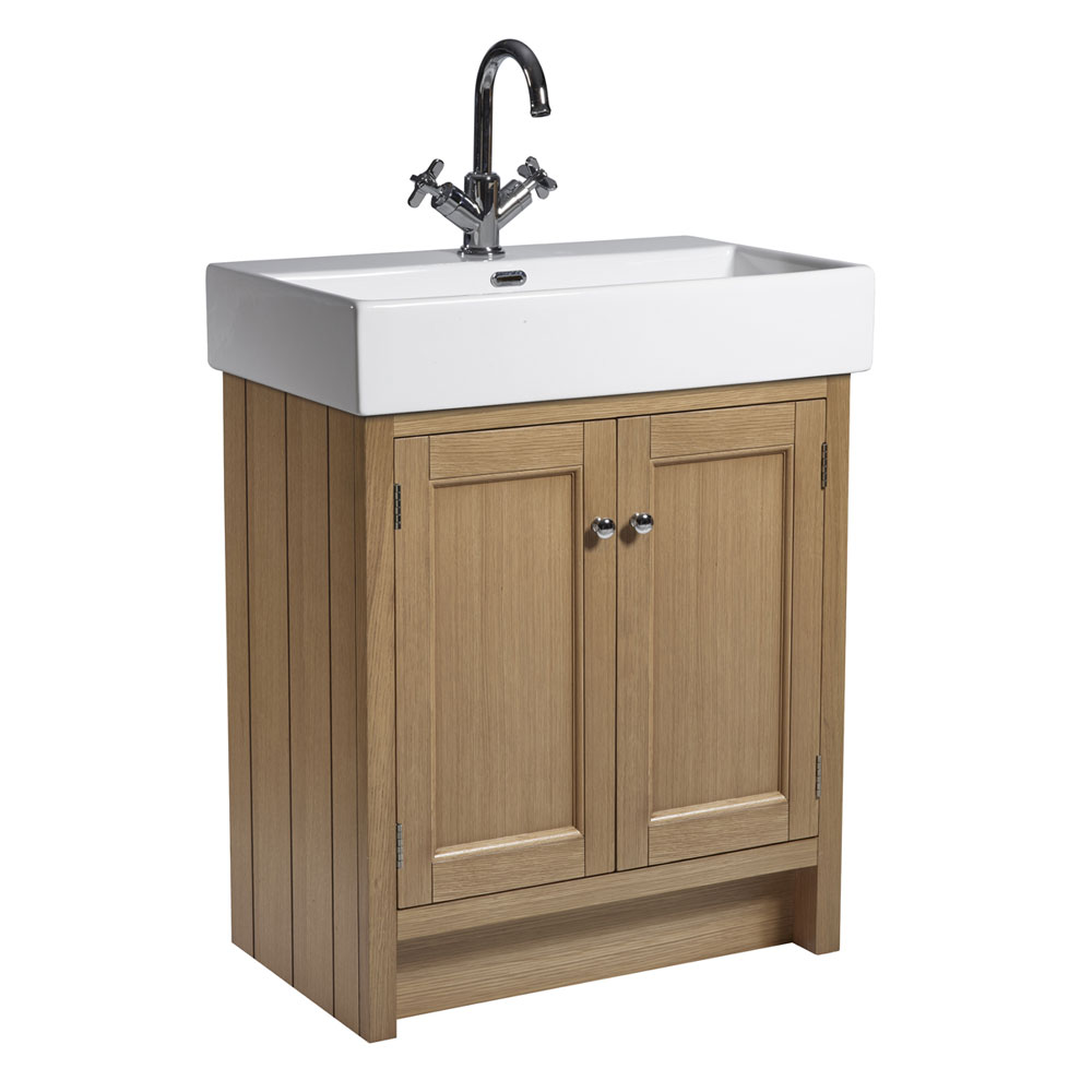 Roper Rhodes Hampton 700mm Countertop Unit & Basin - Natural Oak Large Image