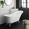 Harlow 1610 x 705mm Slipper Bath + Chrome Leg Set profile small image view 1