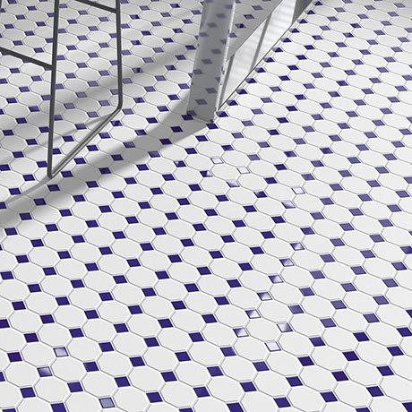 Haywood Blue & White Mosaic Tile Sheet - 295 x 295mm