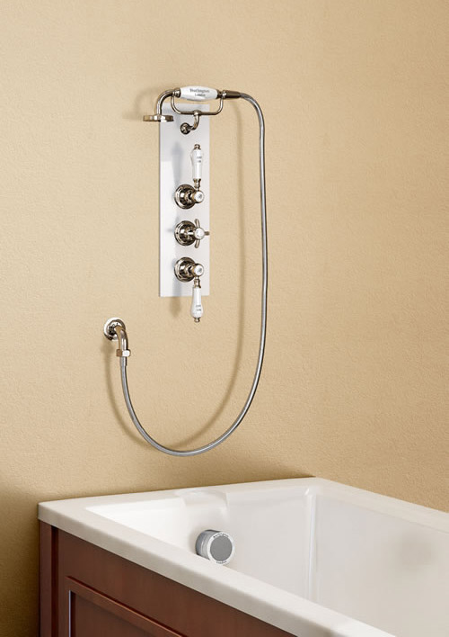 Burlington Clyde Anglesey Concealed Valve w/ Overflow Filler & Handset - Ceramic Backplate Large Image
