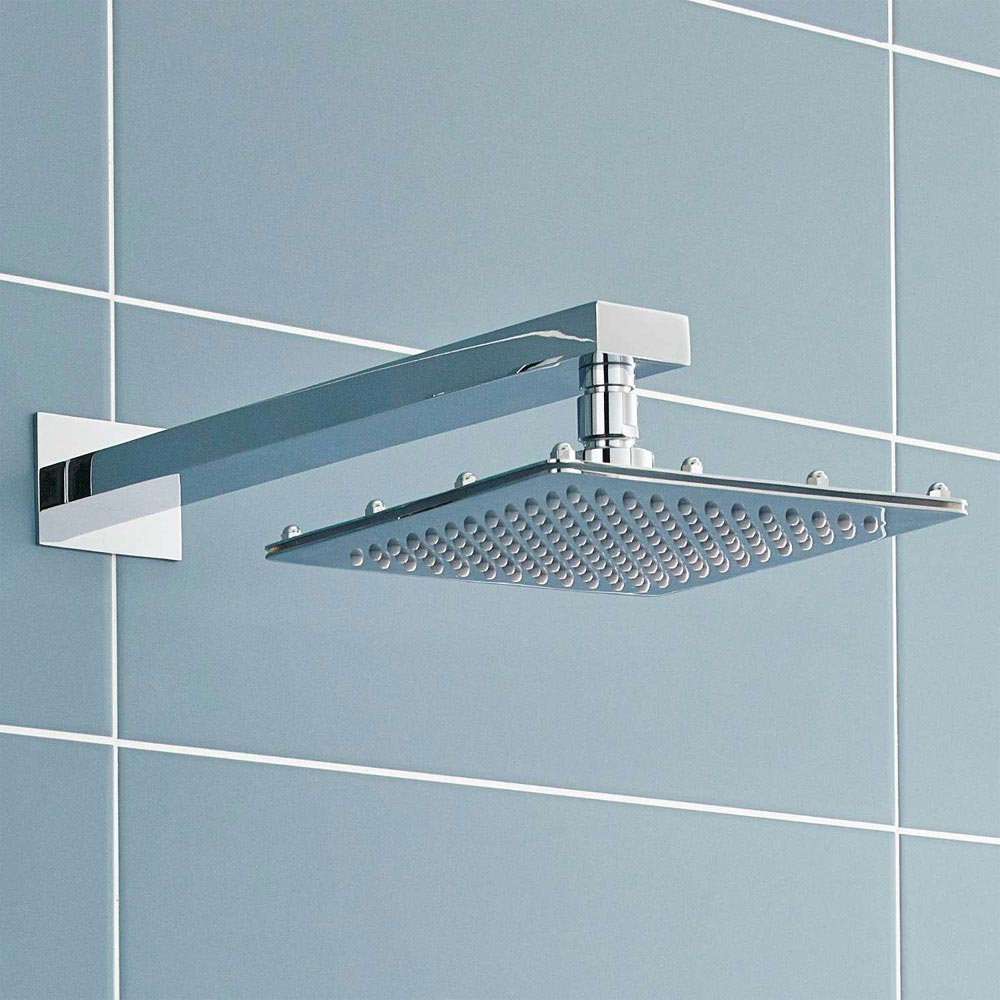 Ultra 200mm Square Fixed Shower Head & Wall Mounted Arm Large Image